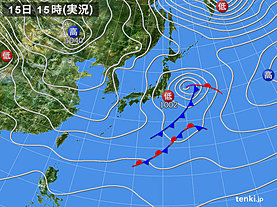 実況天気図(2020年01月15日)