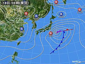 実況天気図(2020年01月18日)