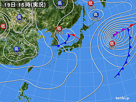 実況天気図(2020年01月19日)