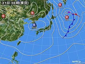 実況天気図(2020年01月21日)