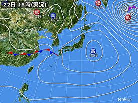 実況天気図(2020年01月22日)