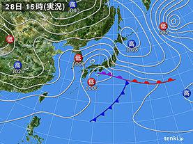 実況天気図(2020年01月28日)