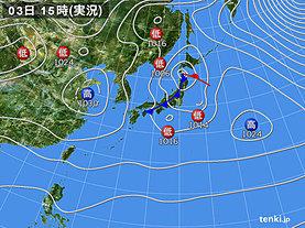 実況天気図(2020年02月03日)