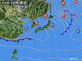 実況天気図(2020年02月04日)