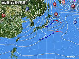実況天気図(2020年02月05日)