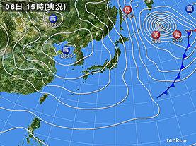 実況天気図(2020年02月06日)