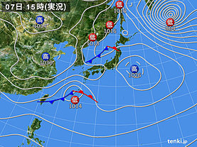 実況天気図(2020年02月07日)