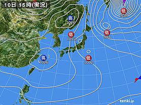 実況天気図(2020年02月10日)