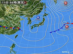 実況天気図(2020年02月11日)