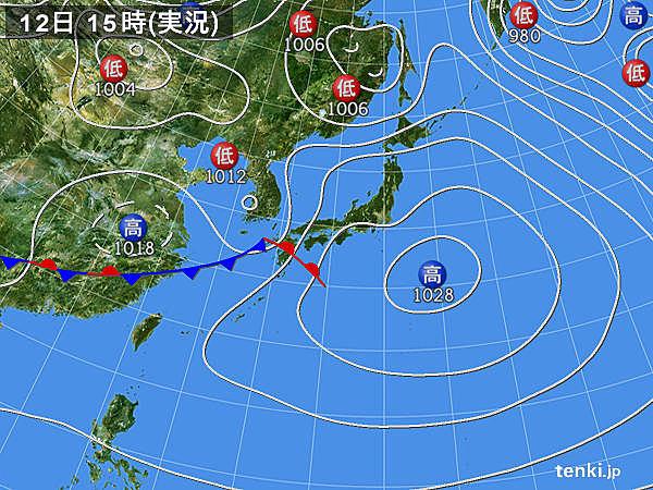 実況天気図(2020年02月12日)