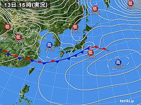 実況天気図(2020年02月13日)