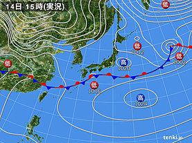 実況天気図(2020年02月14日)