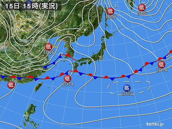 実況天気図(2020年02月15日)