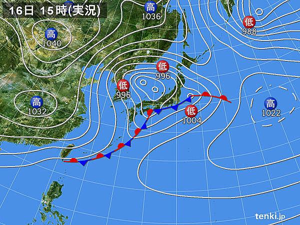 実況天気図(2020年02月16日)