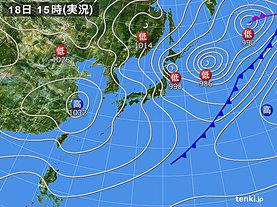 実況天気図(2020年02月18日)