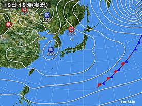 実況天気図(2020年02月19日)