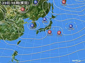 実況天気図(2020年02月20日)