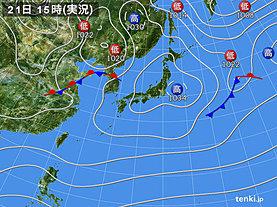 実況天気図(2020年02月21日)