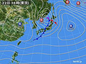 実況天気図(2020年02月22日)