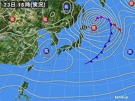 実況天気図(2020年02月23日)
