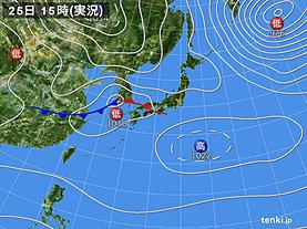 実況天気図(2020年02月25日)
