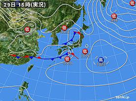 実況天気図(2020年02月29日)