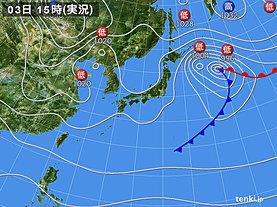 実況天気図(2020年03月03日)