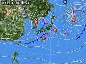 実況天気図(2020年03月04日)