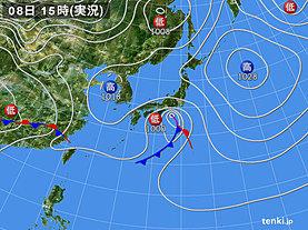 実況天気図(2020年03月08日)