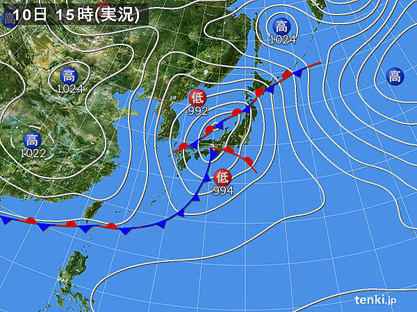 実況天気図(2020年03月10日)