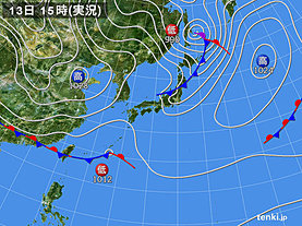 実況天気図(2020年03月13日)