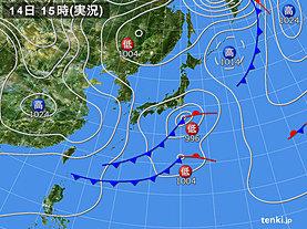 実況天気図(2020年03月14日)