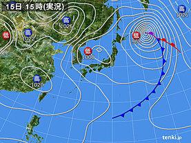 実況天気図(2020年03月15日)