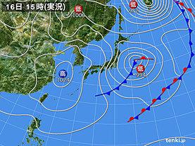 実況天気図(2020年03月16日)