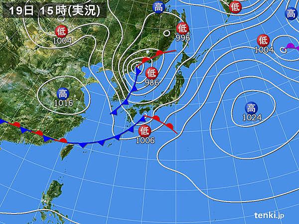 実況天気図(2020年03月19日)