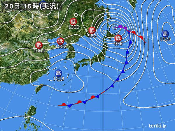 実況天気図(2020年03月20日)