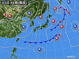 実況天気図(2020年03月23日)