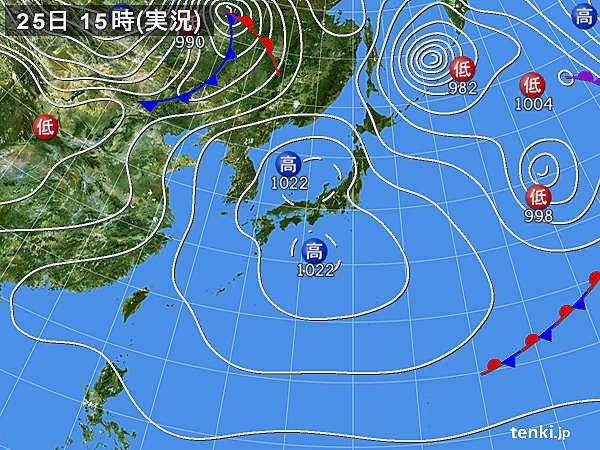 実況天気図(2020年03月25日)