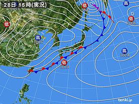 実況天気図(2020年03月28日)