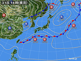 実況天気図(2020年03月31日)