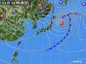 実況天気図(2020年04月02日)