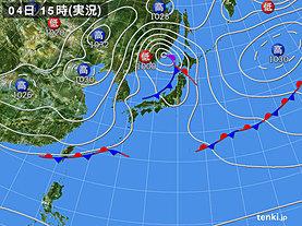 実況天気図(2020年04月04日)