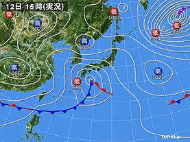 実況天気図(2020年04月12日)
