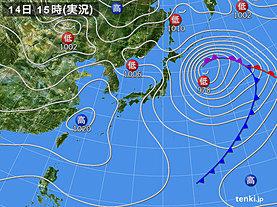 実況天気図(2020年04月14日)