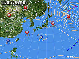 実況天気図(2020年04月15日)