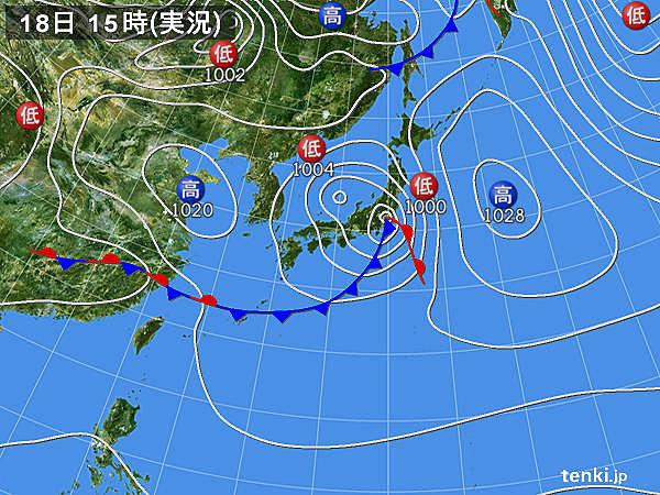 実況天気図(2020年04月18日)