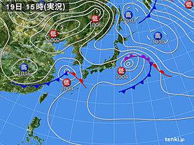 実況天気図(2020年04月19日)