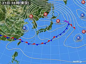 実況天気図(2020年04月21日)