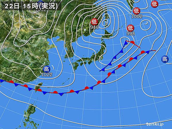 実況天気図(2020年04月22日)
