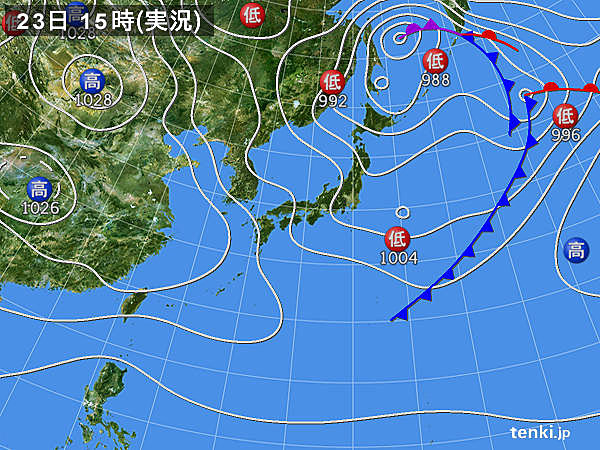 実況天気図(2020年04月23日)